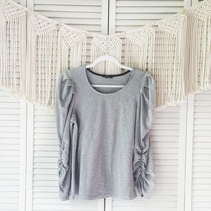 DREW Gray Puffy Ruched Sleeve Crewneck Top S